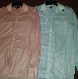 Bundle of 2 satin/silk button down blouses!